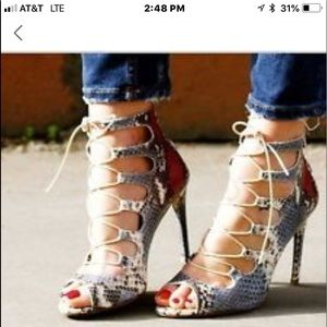 Zara lace up ankle cage snakeskins heels size 9